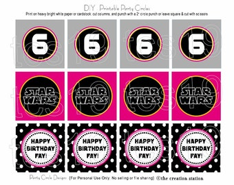 PRINTABLE Party Circles - Galaxy Girl Warriors - Star Wars Inspired - Cupcake Toppers