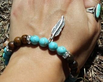 Tigers Eye & Turquoise Feather Bracelet