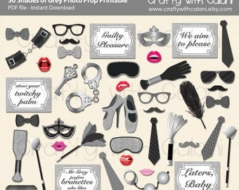 50 Shades of Grey Theme Party Photo Booth Prop, 50 Shades of Grey Photo Booth Prop, Instant Download, Party Printable
