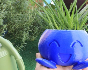 LARGE Oddish Planter - 3D Printed Pokemon planter made with eco-friendly PLA plastic - Includes drainage holes for watering plants