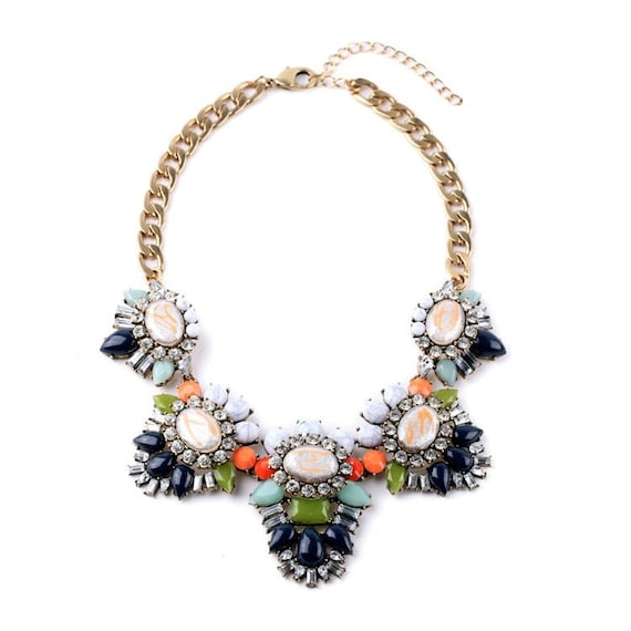 Statement necklace crystal necklace bib by myvanityfashion for Stella and dot jewelry wholesale