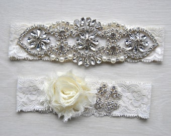 Crystal Garter Set Wedding Garter Set Ivory Lace White Shabby Chic Flower Bridal Garter Set Vintage Crystal Rhinestone Toss Garter Set