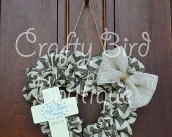 Gray Cream Chevron Burlap Cross Welcome Baby Heart Wreath