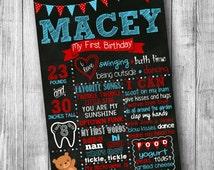 First Birthday Teddy Bear Chalkboard Poster - Girl or Boy - Customized 1st Birthday Chalk board - Printable Sign - Bear - Red Blue White