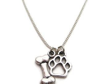 Dog Paw Necklace Paw and Bone Necklace  Paw Print Necklace Paw Necklace Pet Lover Necklace  Dog Paw Jewelry Pet Parent Gifts