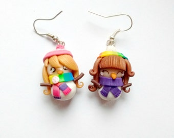 Christmas earrings - Snowman girls dolls Snow Epiphany perfect gift present kawaii handmade polymer clay