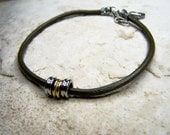 Olive Green Leather Anklet, Mens Ankle Bracelet, Beach Accessorie, Beaded Anklet, Petite to Plus Size