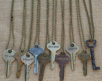 Vintage Key Necklace with Hand Stamped Word or Verse.