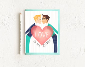 LGBT Card, Gay Wedding Card, Gay Engagement Card, Gay Anniversary Card, Card for Gay Wedding, Card for Groom, Gay Wedding Shower