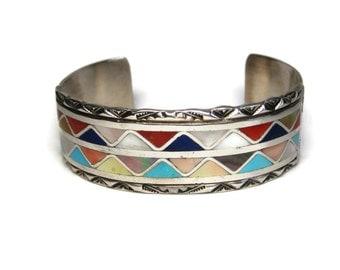 Vintage Zuni Sterling Banteah Multi Stone Inlay Cuff Bracelet