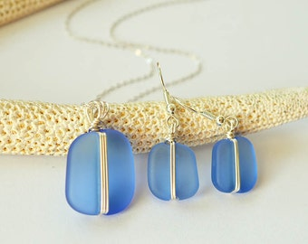 Blue sea glass set light blue seaglass necklace frosted glass earrings sea glass necklace and earrings wire wrapped jewelry set gift for mom