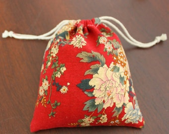 Handmade cotton linen bag Japanese red/black/blue floral custom size and print available