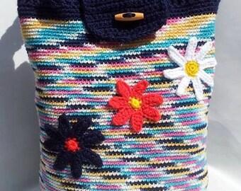 Crochet Tote Bag. Hand-crocheted Tote Shopper Bag.