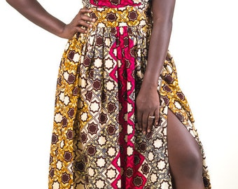 Hot African Print Maxi ( Thigh highsplit and pockets)