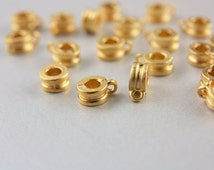 10pcs Gold Bail Links, (5mm x 8mm)  Gold Charm Holders, 24k Matte Gold Ring Charm Holders, Metal Gold Charm Holder, Gold Bail Link / GPY-055