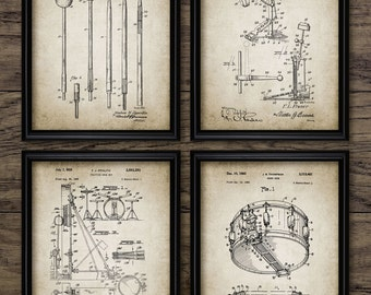 Drum Kit Patent Print Set Of 4 - Drumstick - Music Cymbal - Drum Design - Drummer Gift Idea - Set Of Four Prints #2236 - INSTANT DOWNLOAD