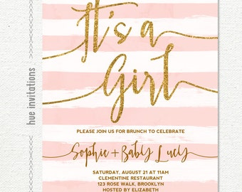 it's a girl baby shower brunch invitation, gold glitter pink stripes baby girl shower invite, digital printable file