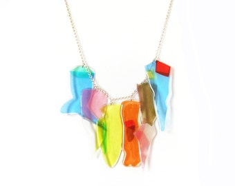 High Fashion Neon Statement Necklace, Colorful Bold Necklace, Unusual Acrylic Bib Necklace, Avant Garde Necklace, Bright Rainbow Jewelry