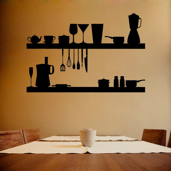Wall decal kitchen objects kitchen wall decal kitchen for Dining room wall decals