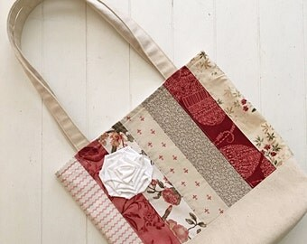 Tote Bag Pattern PDF Market Summer French Country Quilted Bag Canvas Beach Farmhouse Handbag Download