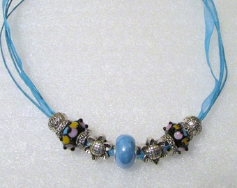 882 - NEW Aqua Beaded Necklace
