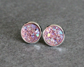 Light Pink Stud Earrings, Pink Earrings, Pink Druzy Earring Studs, Pink Post Earrings, Light Pink Studs, Pink Bridesmaid Earrings