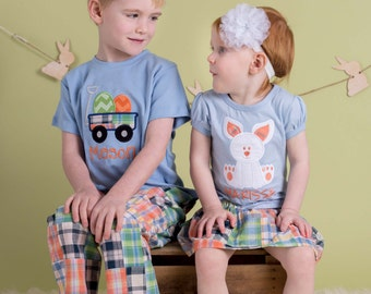 Brother Sister Easter Sibling Shirts with Easter Egg Wagon , Girl Bunny and Embroidered Name - M30
