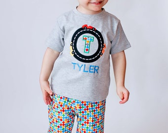 Boy Gray Race Track Birthday Shirt with Embroidered Name