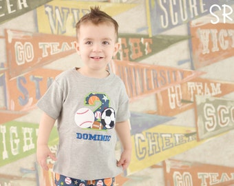 Boy's Baseball Soccer Sports Birthday Shirt with Sports Number and Name