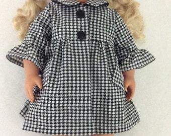 American Girl Doll Black and White Coat