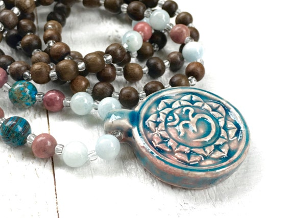 Lotus OM Mala Necklace, Lotus Mala Beads, Lotus Yoga Jewelry, 108 Bead Wood Mala, OM Jewelry, Bohemian Style Necklace