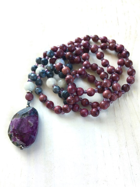 Purple Mala Beads, Moonstone Mala, Black Labradorite Mala Necklace, 108 Beaded Mala, Crown Chakra Mala, Meditation Beads, Unique Mala