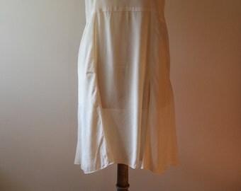 1920's French embroidered cream silk slip, lingerie, wedding, bridal,