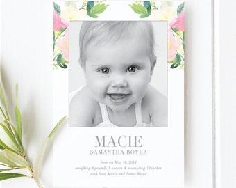Baby Girl Botanical Birth Announcement   Photo Birth Announcement Card