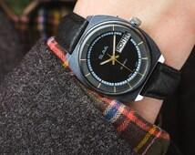 Vintage men's watch Slava (Glory) with calendar – soviet mechanical wrist watch – black leather watch men – gift for him 70s