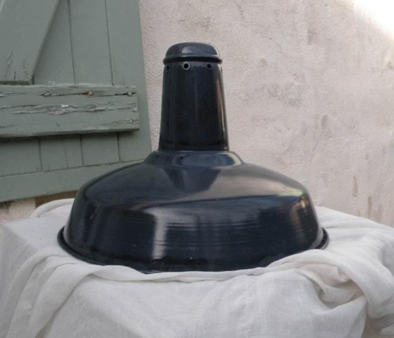 Vintage enamel industrial lamp shade, Large French vintage industrial dark blue enamel lamp shade, Factory lamp shade, Loft lighting