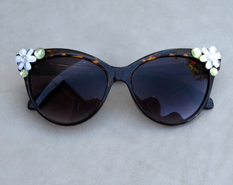 Sunglasses Tortoise Shell with Rhinestone Embellishment