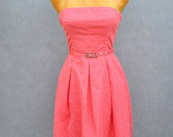 Coral Strapless Party Dress with Belt