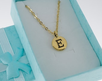 Antique Gold Plated Pewter Initial Charm Necklace.  Initial Necklace. Initial Charm. Initial Jewelry. Letter E necklace.  Letter E Jewelry.