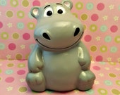 Adorable Gray Hippo Bank, Perfect for Baby Nursery or Kid's Bedroom, Customizable Bank, Piggy Bank, Hippopotamus Bank, Animal Nursery Decor