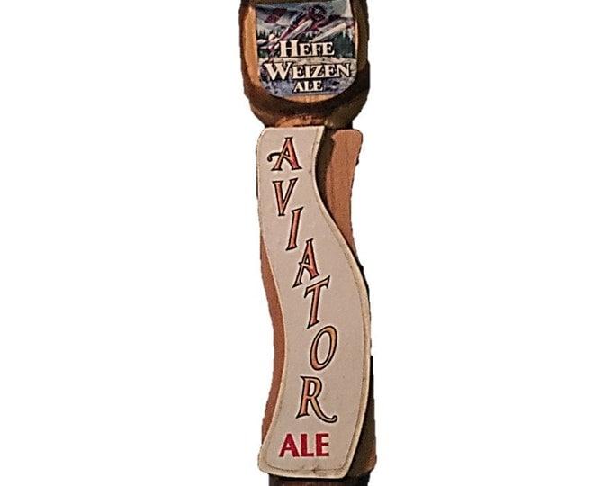 Vintage Aviator Ale Beer Tap Handle - Rare Protype Wood Hefe Weizen Ale Beer Tap - Retro Man Cave Beer Tap