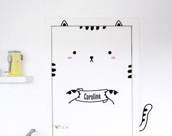 Sisi the Custom Cat Door decal / Wall decal for doors, windows or closets / Nursery decor / Cat Vinyl Sticker