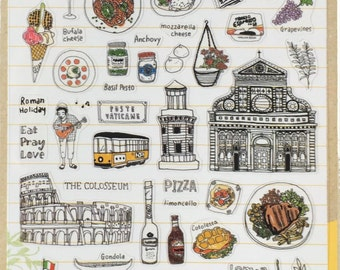 Sonia Italy Rome theme stickers , travel stickers, craft supply,scrapbooking supply, planner