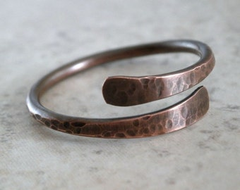 SALE Rustic Copper Ring Hammered Metal Ring Copper Rustic Jewelry Textured Copper Band Ring Men or Her Minimalist Style Brown Ring