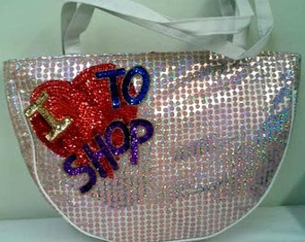 Sequins & Beaded I LOVE TO SHOP Shoulder Purse/Carry All Brand New