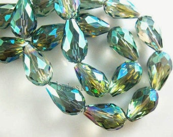 Sale **BOGO**10x15 Metallic Green AB Crystal Teardrops