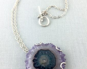 Topanga Necklace / California Collection // amethyst stalactite necklace, raw amethyst necklace, solar quartz, bohemian jewelry, sterling