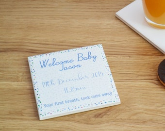 Welcome Baby Personalised Keepsake Tile Coaster