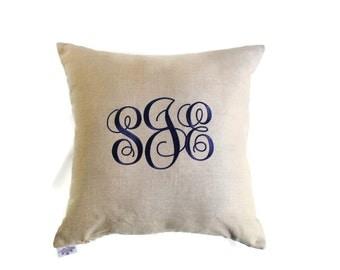 Personalized Linen Pillow, Monogram Pillow, Initial Pillow, Letter Pillow, Wedding Gift, Anniversary Gift, Graduation Gift, Linen Monogram