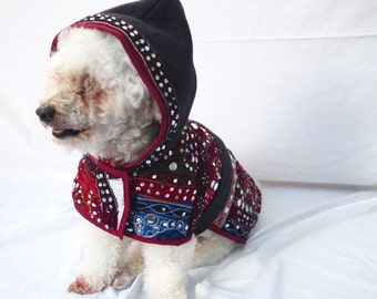 Embroidered Bohemian Hippie Dog Hoodie Jacket- Small